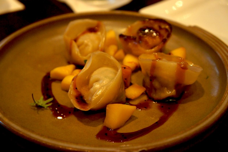 Housemade dumplings with chopped apple