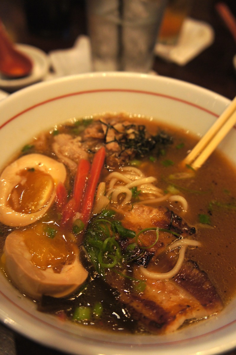 The tonkotsu pork ramen which features crispy braised pork belly, soy egg, and house pickled ginger