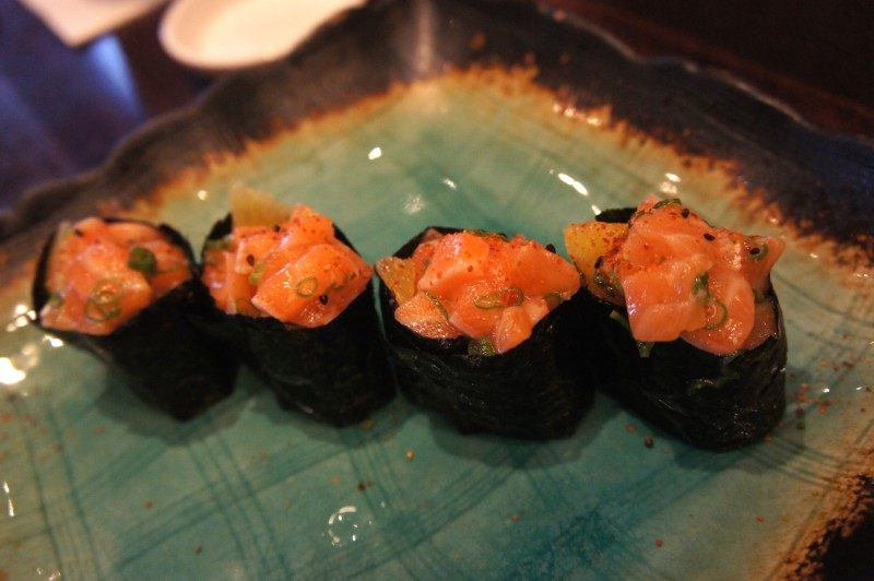 The salmon ceviche nigiri with citrus cured salmon, a refreshing highlight with wonderful lime and citrus zest flavors