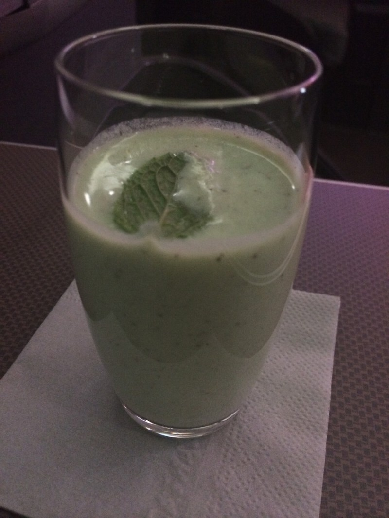 Cathay Delight - the signature drink of Cathay Pacific -  made with coconut milk and kiwi juice