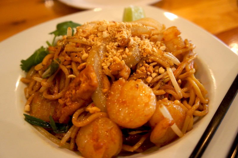 Char Kway Teow -Malaysia's most popular street dish, wok-fried rice noodles, with shrimp, chicken, eggs, bean sprouts, and chives.