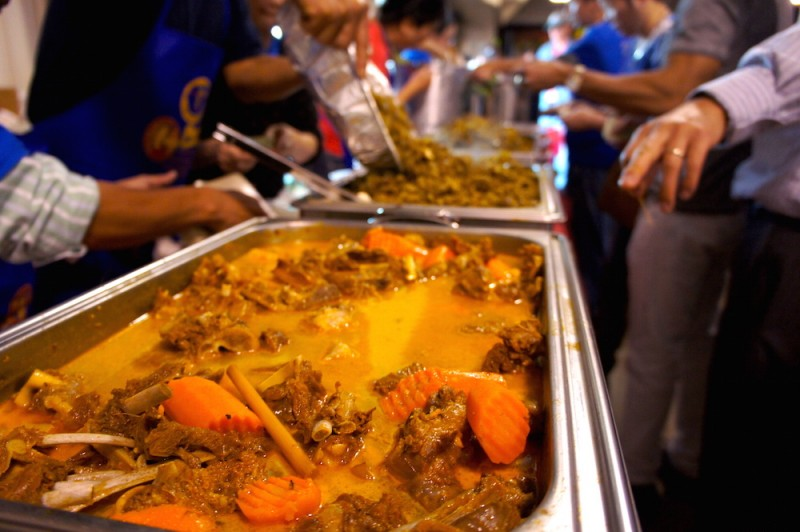 Curry goat and sauteed boar