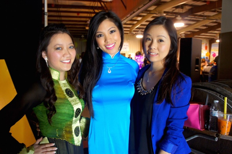 These Vietnamese ladies are getting ready for a cultural performance on stage