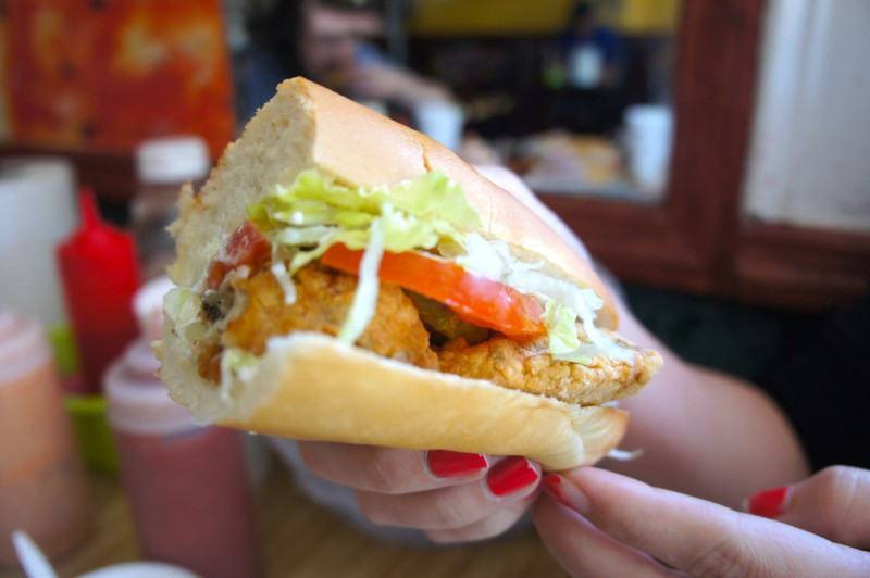 Look into the Fried Oyster Po boy sandwich