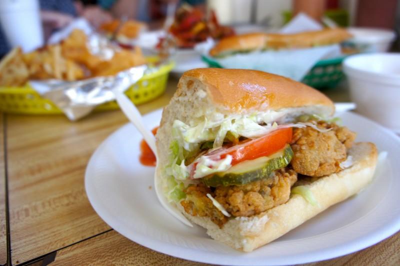 Oyster Poboy sandwich