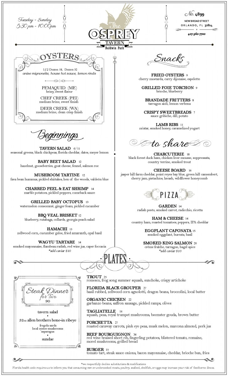 The Osprey Tavern Dinner Menu Summer 2015