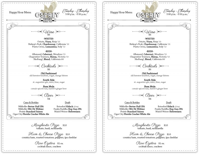 The Osprey Tavern Happy Hour Menu