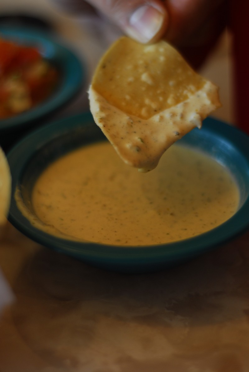 Nachos and Chuy's Creamy Jalapeno Sauce
