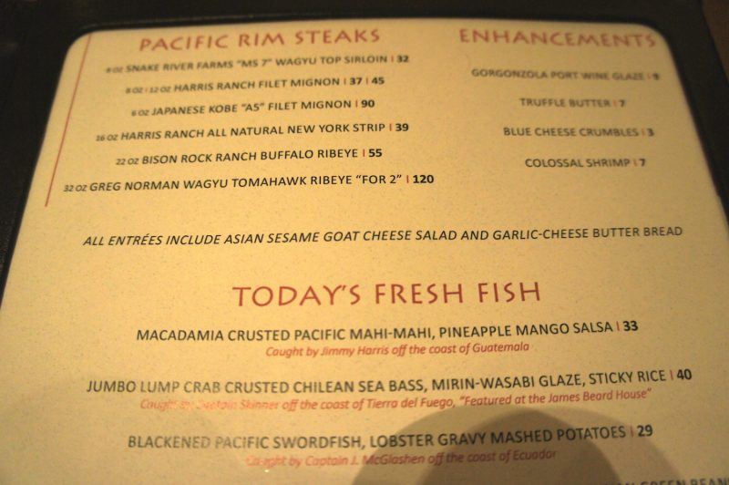 MoonFish Dinner Menu