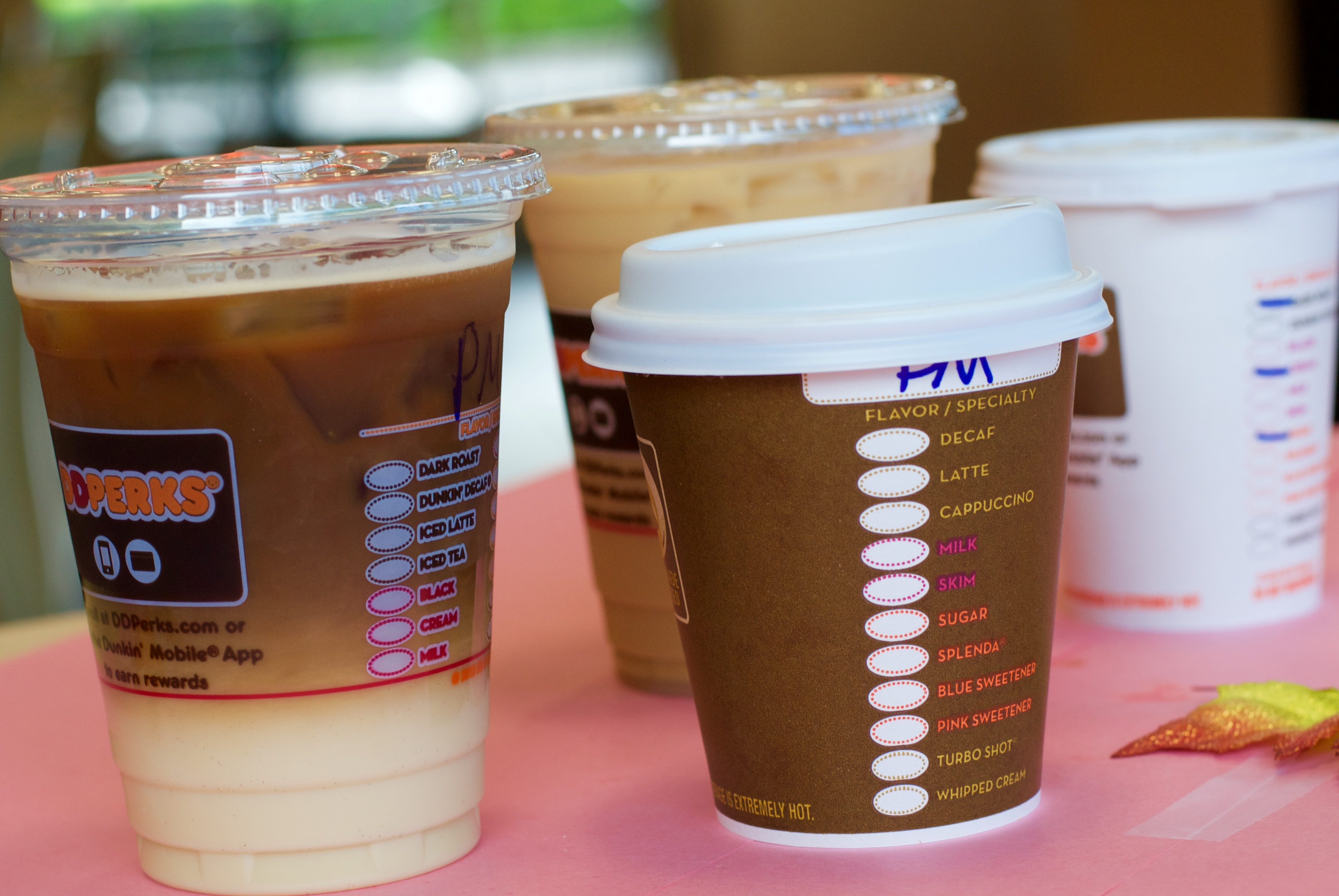 from left to right thereu0027s the iced pumpkin macchiato iced dark roast coffee hot pumpkin macchiato and hot dark roast coffee