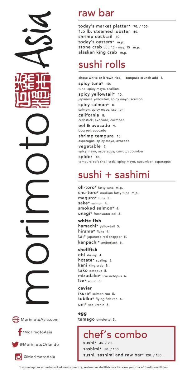 Morimoto Asia Sushi Menu