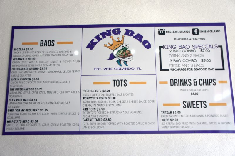 King Bao Menu