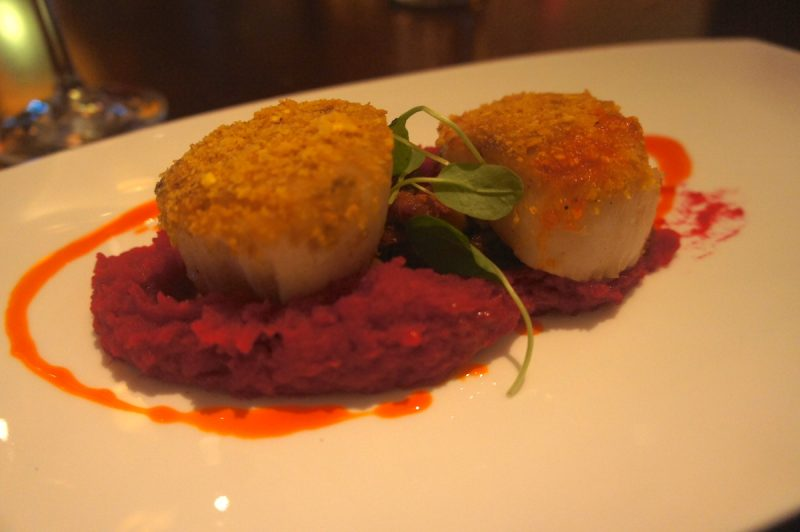 Plantain Crusted Diver Scallop Beet root mash, pickled corn and chorizo salsa