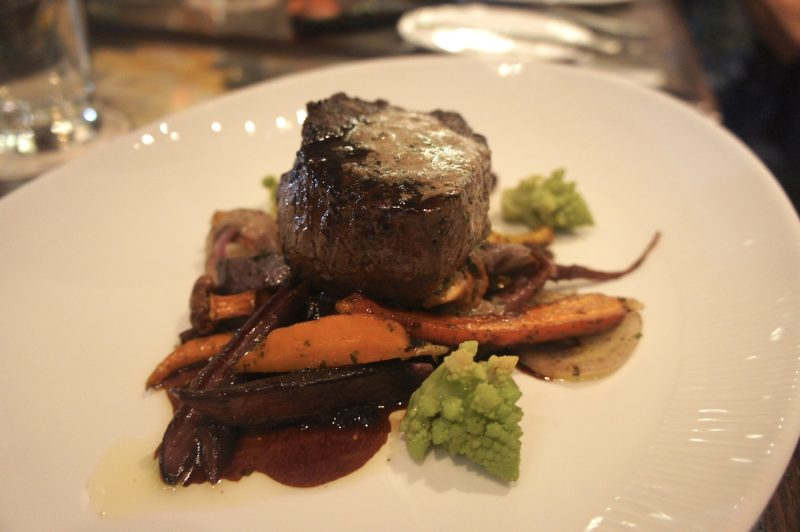 Wagyu Filet Mignon Okinawan Potatoes, Chanterelle Mushrooms, Romanesco, Bordelaise Sauce