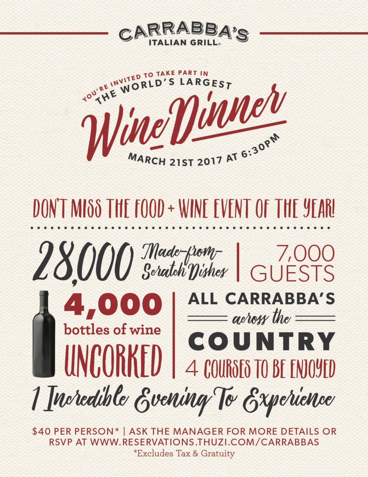 the world s largest wine dinner at carrabba s tasty chomps
