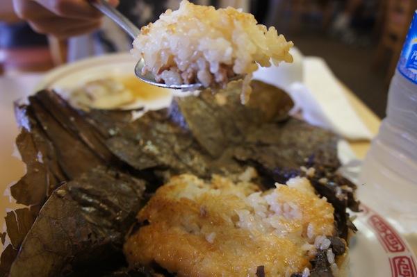 Lotus Leaf sticky rice with pork and mushrooms