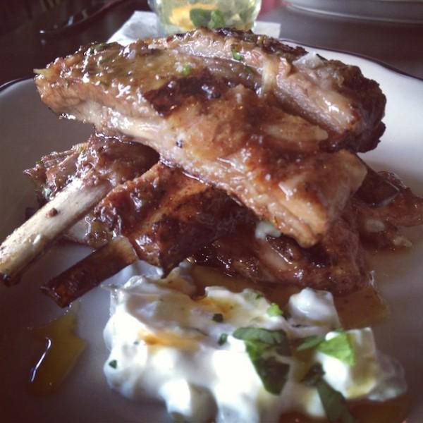 lamb ribs 15 - green tomato yogurt, burnt coriander honey
