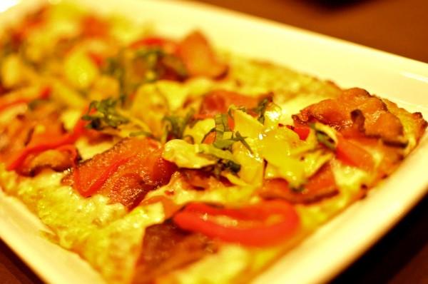 Bacon & Artichoke Flatbread - aged provolone, sundried tomato aioli