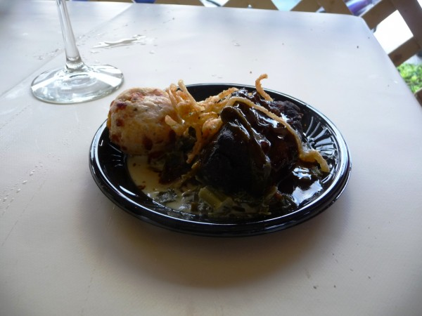 Braised Short Rib, Creamed Collard Greens & Cheese Biscuit from Cuisiniers