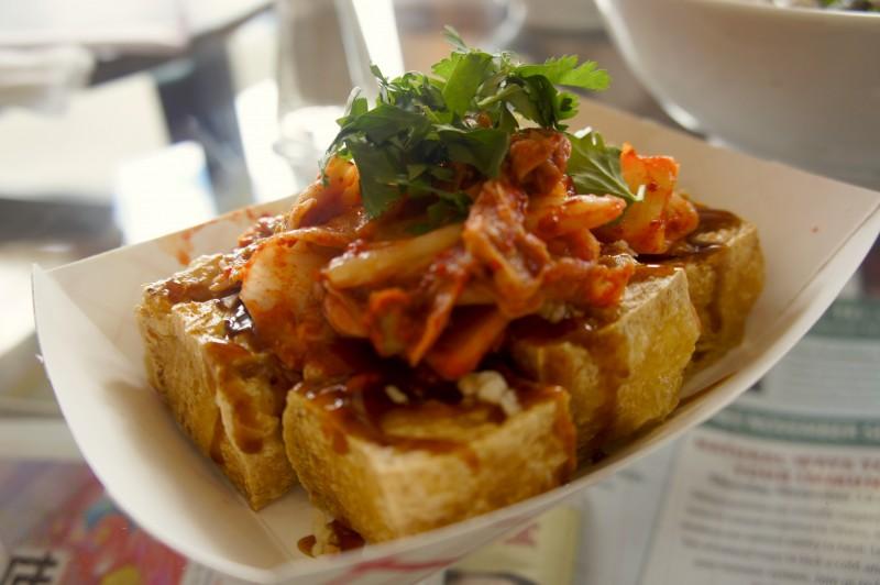 Stinky Tofu topped with Kimchi