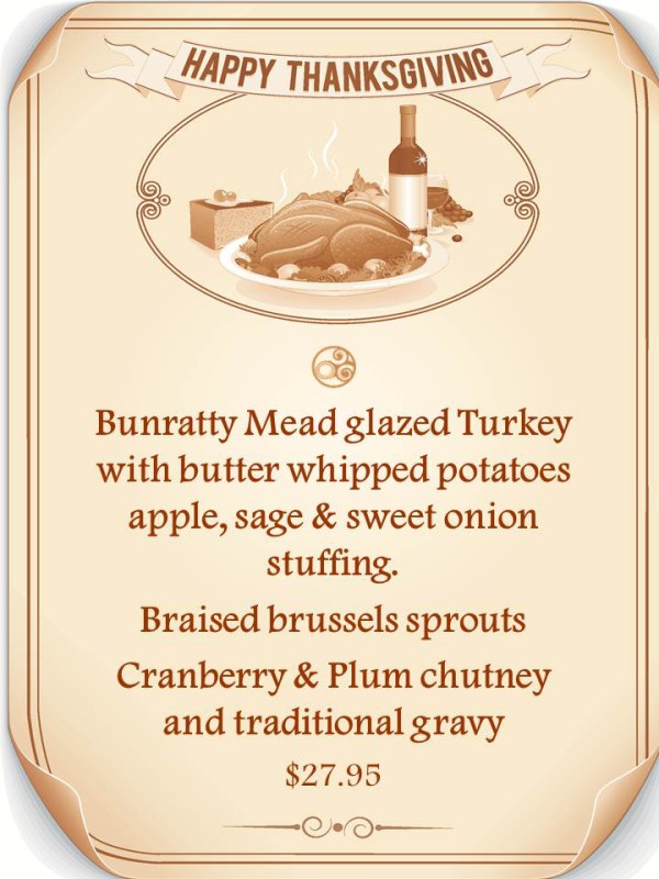 Raglan Road Thanksgiving menu 11am-11pm