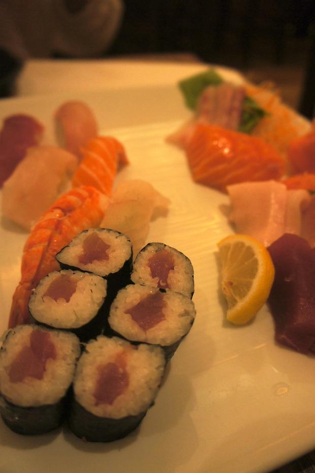 Sushi Sashimi Combo: (5pc Sushi, 9pc Sashimi, California Roll)   23