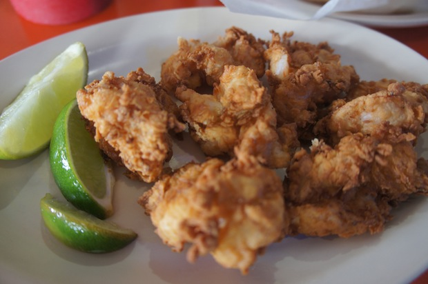 Fried shrimp. Really good...crispy, crunchy, and nice subtle flavors in the fry. Great with some squeeze of lime and a dip in the tartar sauce.