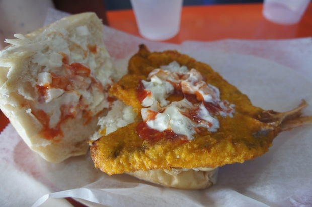 A look inside the fried snapper sandwich at La Camaronera in Little Havana.