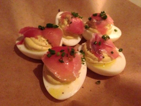 DEVILED EGGS (5) topped with benton's country ham, evoo