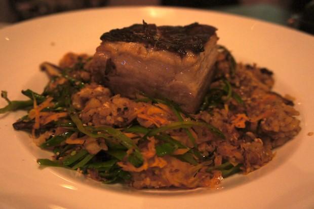 Kurabuta Pork Belly on Fried Rice