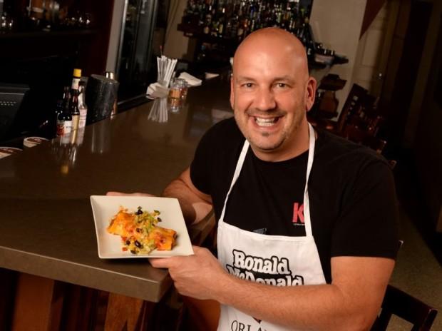 Chef Kevin Fonzo – K Restaurant – Chipotle BBQ Beef Enchilada, Carmelized Onions, Southwestern Veggie Salad