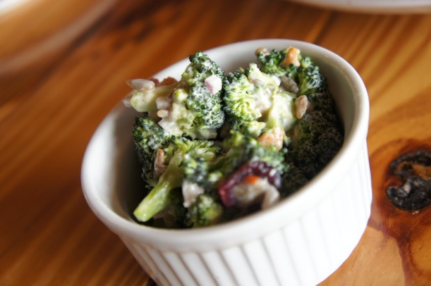 Broccoli salad with cranberries, pine nuts, red onion