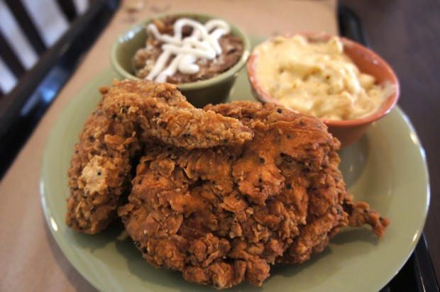 Fried Chicken with Cinnamon bread pudding and mac-n-cheese sides at The Coop - the chicken was a bit too peppery today
