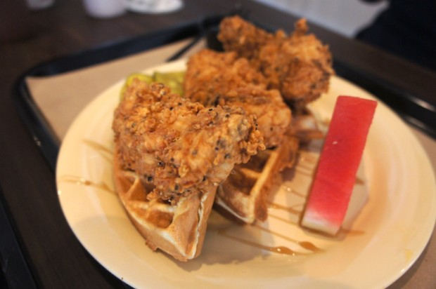 Chicken n Waffles and watermelon from The Coop