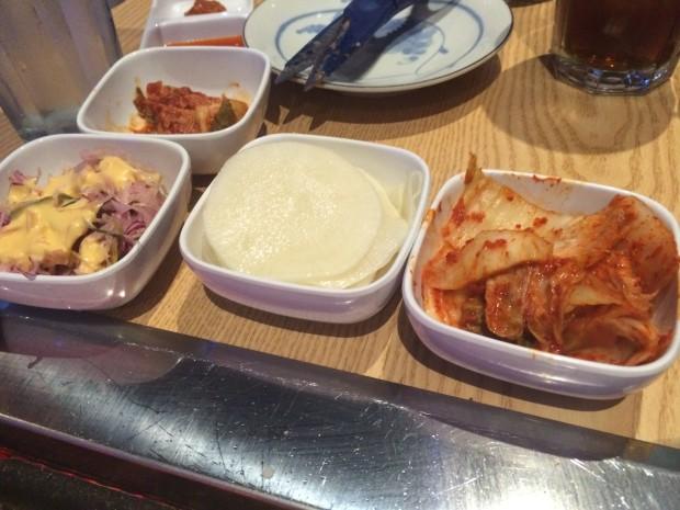 Banchan! Kimchi and pickled veggies