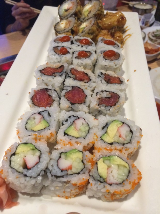 Sushi selection from the all you can eat menu