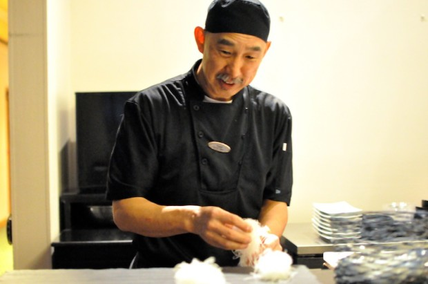 Chef Yoshi, formerly of Sushiman, working the sushi rice with his fingers