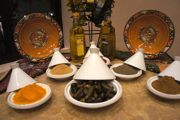 Tagines and spices for display