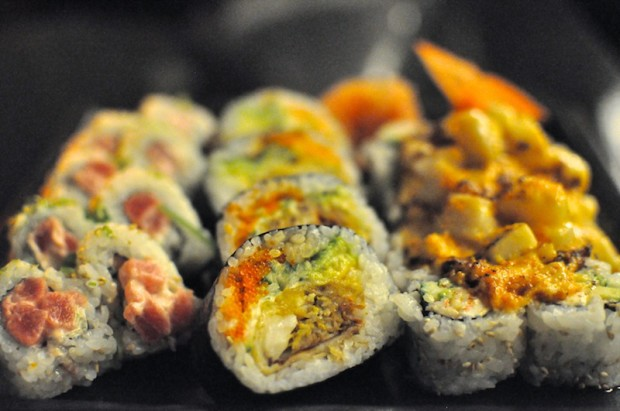 Dynamite Roll, Spider Roll, and Volcano Roll