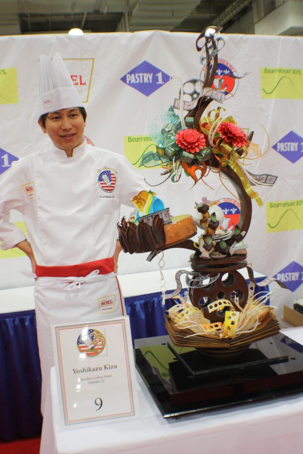 Chef Kizu with his Dessert Showpiece at the US Pastry Competition 2014