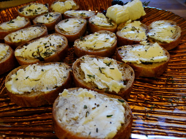 La Femme du Fromage- Feta a fig bruschetta Feta chese made with with goat and sheep's milk on fig and anise bread