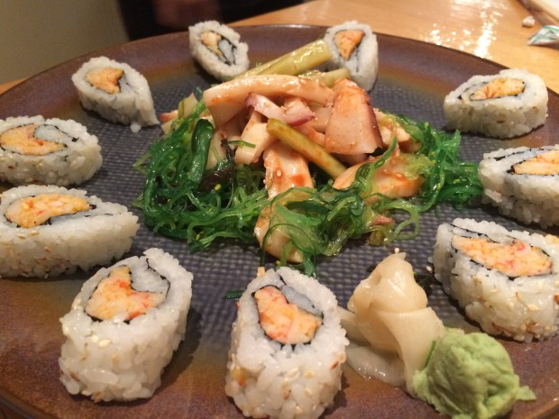 """Sunomono with conch and octopus - with a """"krab"""" roll"""