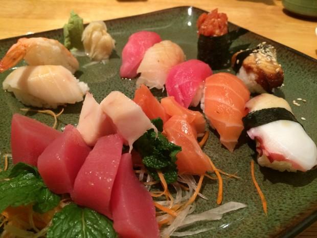 The sushi and sashimi combination at Kiko's