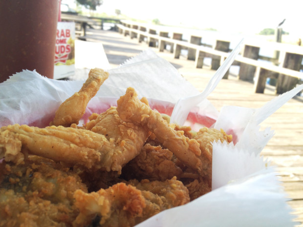 Lone Cabbage Fish Camp's fried catfish, gator tail, amd frog legs