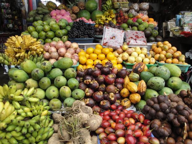 Fruit stall in the street market near Lake Bratan
