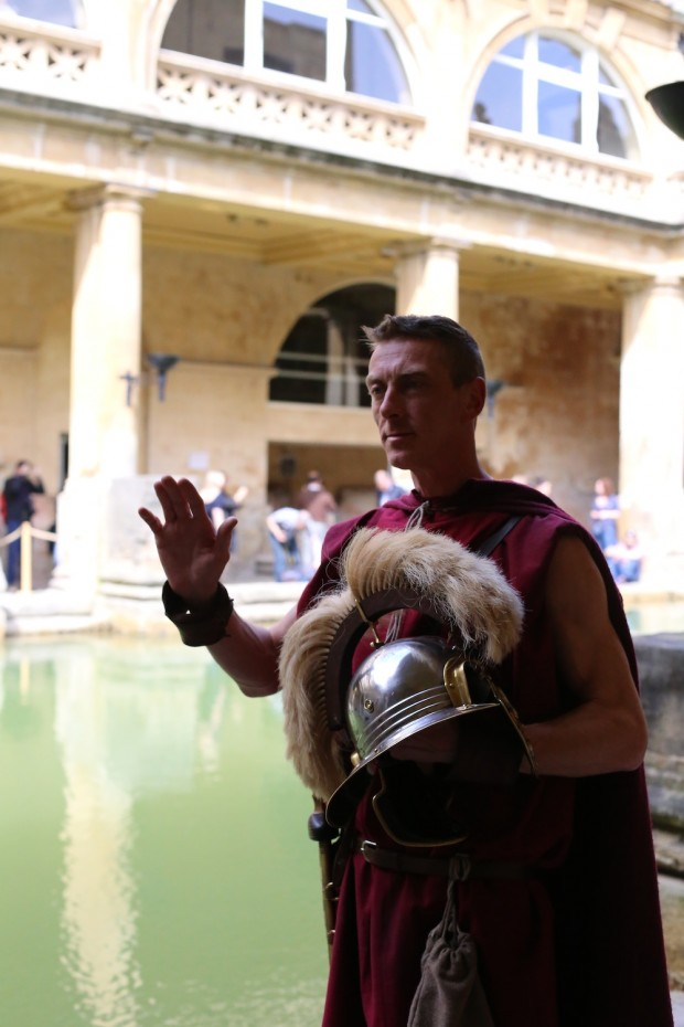 A Roman guard stands in wait at the Roman Baths
