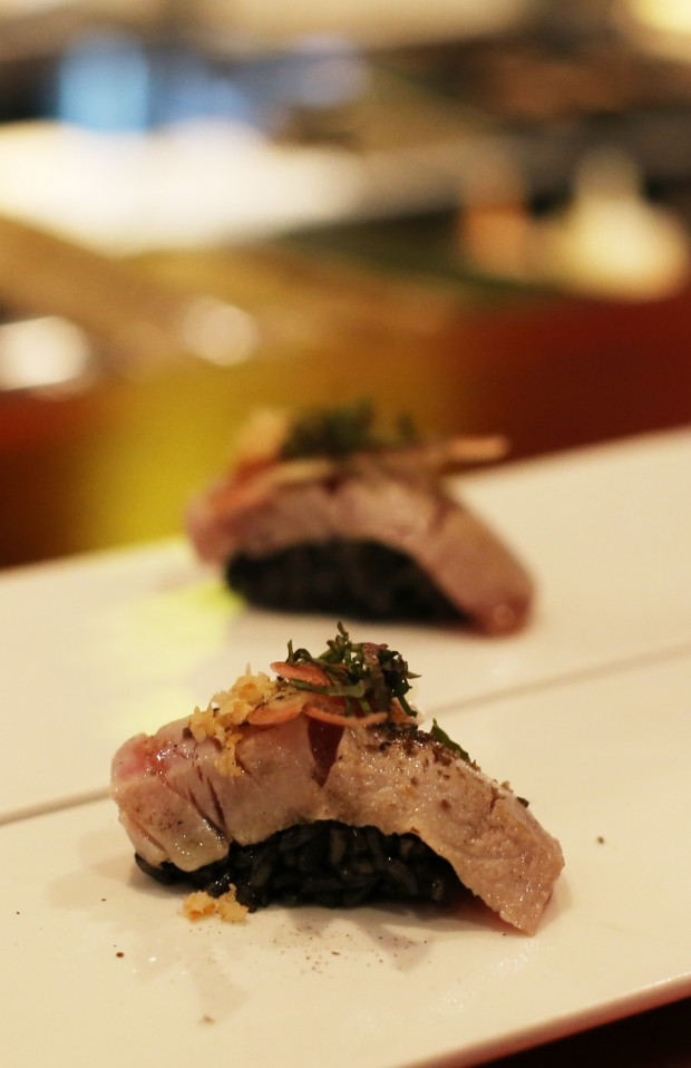 Sushi Pop's Seared Tuna, Black Garlic Rice Nigiri