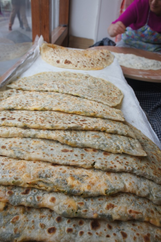 Gozlenes, kind of a Turkish roti stuffed with cheese and spinach