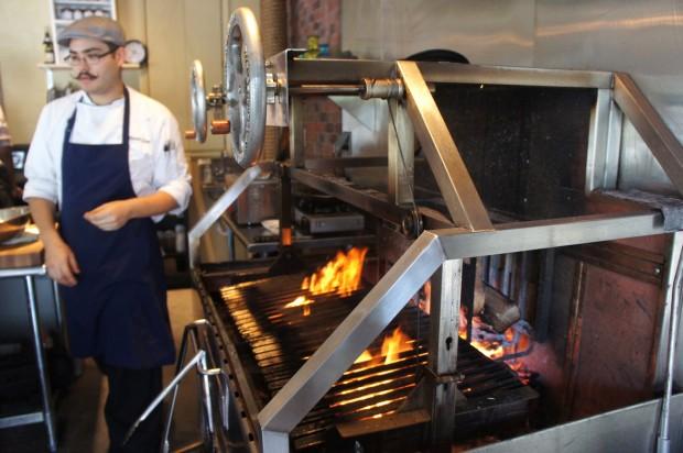 Wood grill at Txokos Basque Kitchen