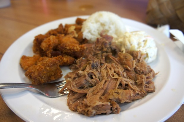 Garlic sugoi chicken and kalua pulled pork with rice - lunch special combo